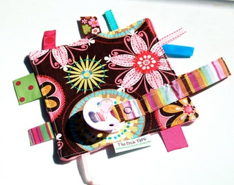 Pacifier Clip Mini Ribbon Lovey with Tags for Baby Girl - Carnival Bloom
