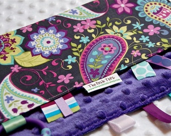 Baby Girl Blanket with Ribbon Tag - Paisley Spree with Purple Minky