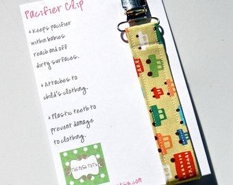 Pacifier Clip Boy  - Beep Beep Cars - Binky Clip - Mam Pacifier Clip - Soothie Pacifier Clip - Avent Pacifier Holder