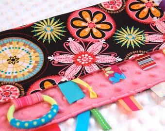 Baby Girl Blanket - Sensory Lovey - Tag Blanket - Ribbon Blanket - Carnival Bloom with Pink Minky