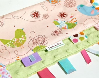 Baby Girl Blanket - Tag Blankets - Ribbon Lovey - Starling Pink with Green Minky