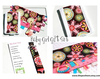 Baby Girl Gift Set -  Pacifier Clip, Tag Blanket and Burp Cloth
