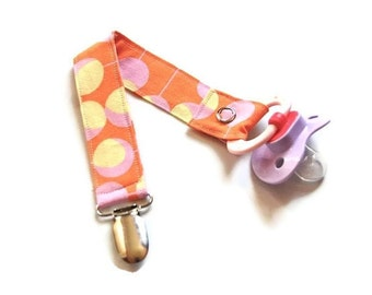 Pacifier Clip - Baby Girl Pacifier Holder -  Martini Dot Tangerine Pink