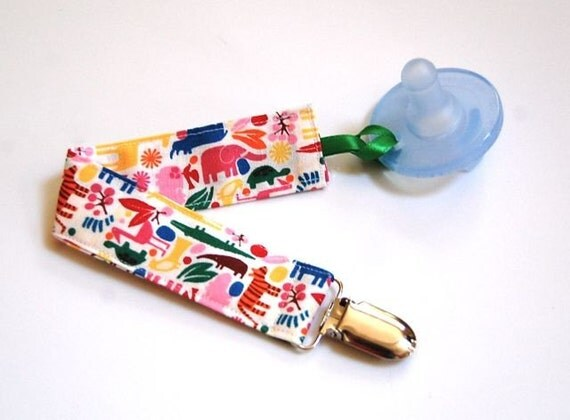 Mam Pacifier Clip-  2D Primary Zoo Animals - Paci Holder Soothie Clip