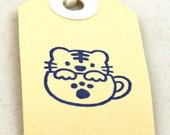 TIGER IN A TEA CUP - Set of 4 Handmade Hand-Stamped Gift Tags