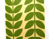 5 note cards - Green leaf pattern