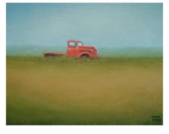 Pickup Truck PRINT Fine Art Giclee Print from an original painting by S. France Rural art print  red truck print antique truck print