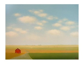 """Old Barn Print Road Print Farm Print Fine Art Print Landscape 8 x 10"""" from an original painting by S. France Art Gift Country landscape Art"""