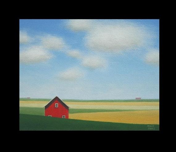 Original Farm Old Red Barn Art Landscape Painting