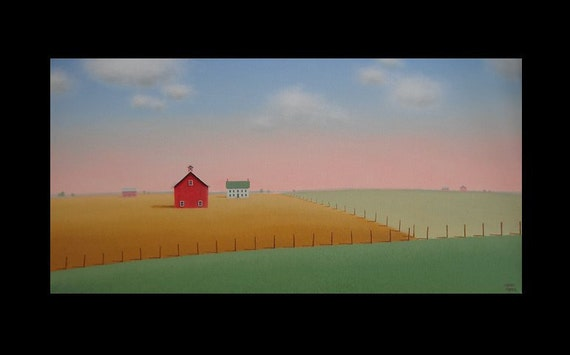 Red Barn Old Farmhouse Fields Original Farm Landscape  Large 24 x 12  Art Painting