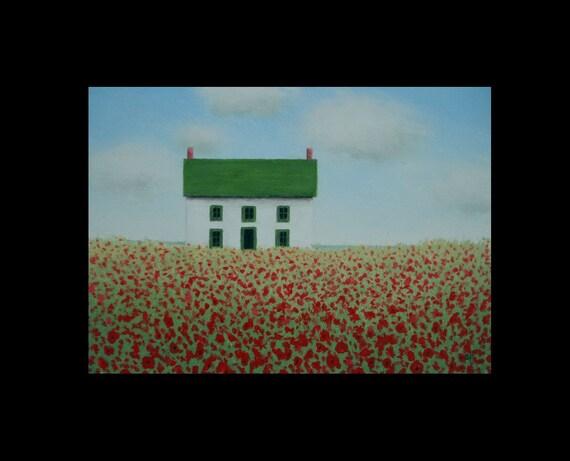 5 x 7  Old  Poppy Farmhouse Landscape Miniature Original Poppies Fine Art Painting