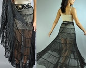 80s SHEER  black GYPSY maxi skirt - high waisted full skirt w/ tiers of sheer ruffles small / medium