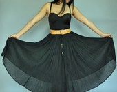 80s SHEER  black GYPSY maxi skirt - high waisted full skirt / ethnic crinkled cotton gauze skirt s/m small / medium