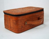 70s HAND TOOLED leather handbag / Vintage Leather Travel Tote w/ ethnic aztec tribal designs