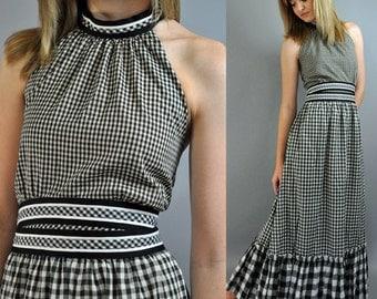 Vintage 70s Halter Dress / Gingham Check Long Maxi Dress / Empire Waist Dress / Backless Dress / 1970s Bohemian Dress Festival Dress S