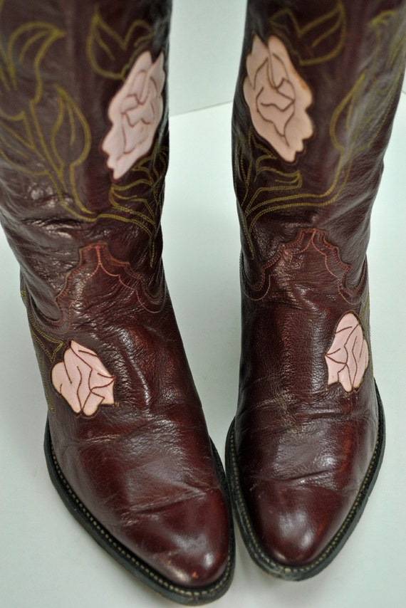 Vintage Justin Fancy Pink Rose Floral Leather Stacked Slant