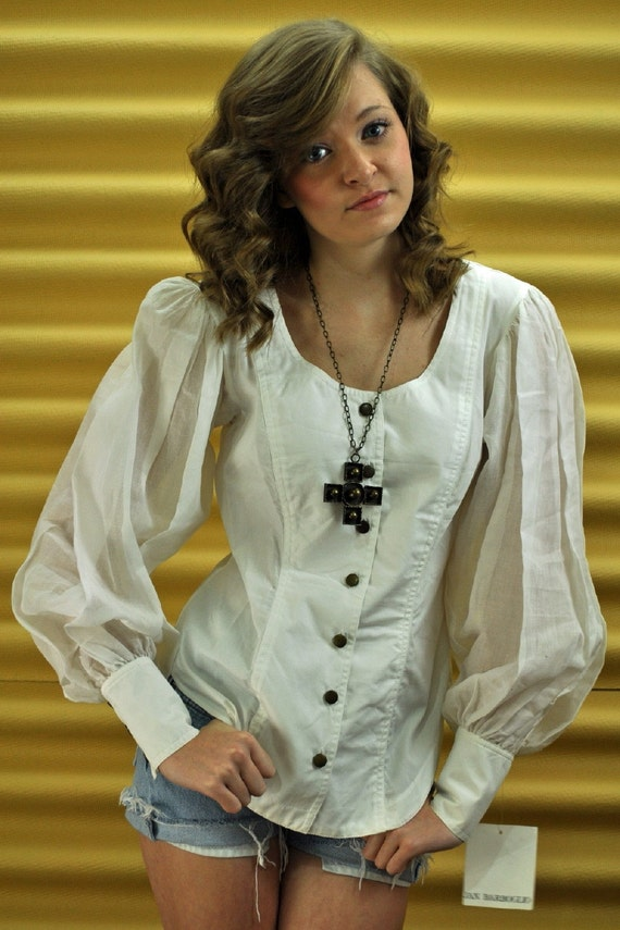 Vintage 80s White Blouse Womens Blouse By