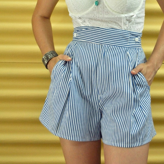 Nautical Pinup Shorts Vintage 80s High Waist by rockstreetvintage