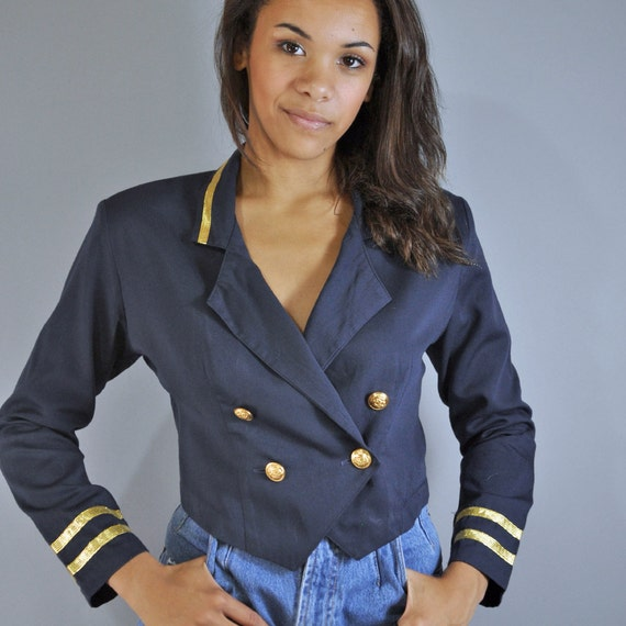 vintage 80s jacket NAUTICAL jacket / tiny fit cropped navy blue military jacket / gold metallic trims & gold crested buttons S / M