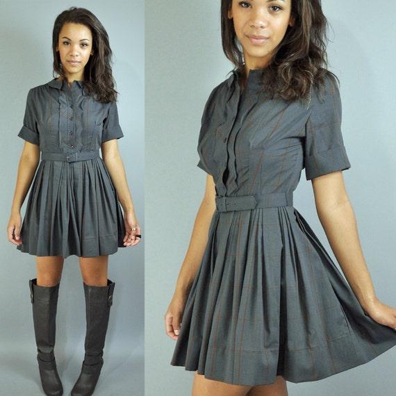 50s day dress full skirt plaid day dress - SCHOOLGIRL sweet rockabilly DAY DRESS w/ peter pan collar xs/s extra small / small