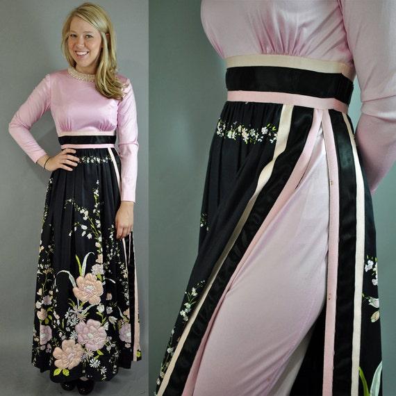 60s jumpsuit - hollywood glam party DRESS party JUMPSUIT - mod evening dress - sparkle appliquéd MAXI skirt & bejeweled neckline s / m