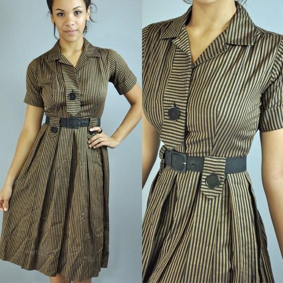 Vintage 50s Day Dress / Stripe Shirtwaist Pleated Skirt Mad Men Cotton Secretary Dress / 1950s Rockabilly Shirt Waist Dress  XS / S