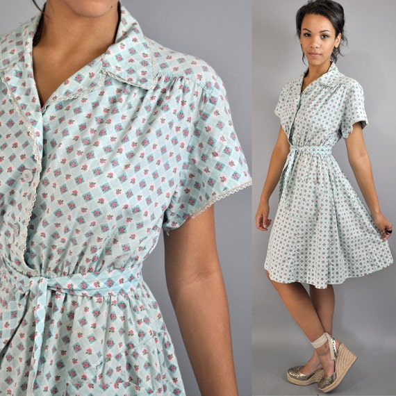 40s cotton DAY DRESS - vintage retro print day dress w/ full skirt lace trims & antique buttons s/m small / medium