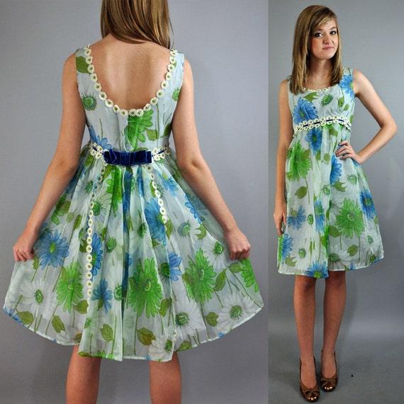 60s sheer party dress - blue floral CHIFFON full skirt empire mini BABYDOLL party dress w/ daisy trims & velvet bow s/m small / medium