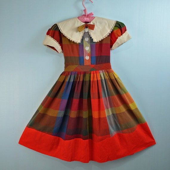 1950s 50s Girls Plaid School Dress By Rockstreetvintage