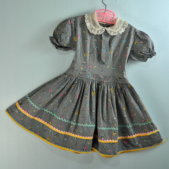 1940s 40s Little Girls Babydoll Dress Retro Print Toddler