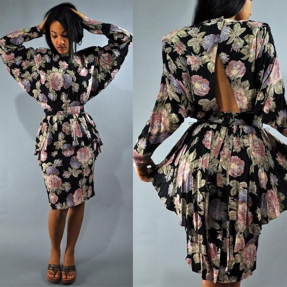 80s vintage dress BACKLESS PEPLUM dress / BATWING taper sleeves & ruffle fishtail peplum dress M