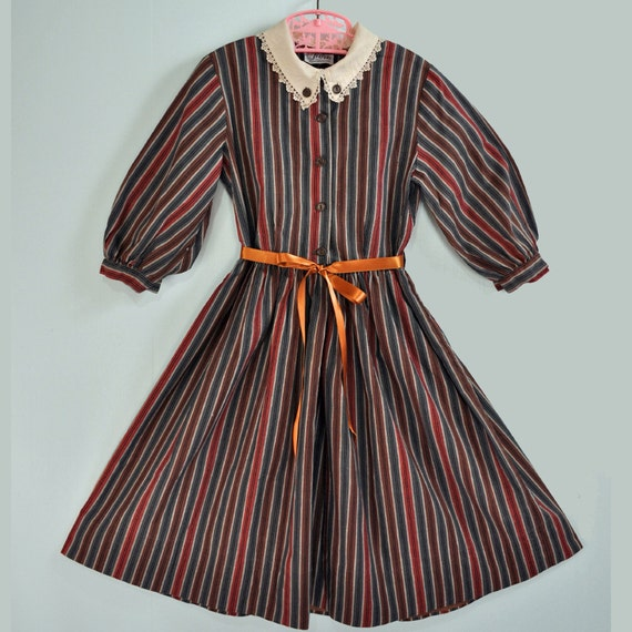 1950s / 50s GIRLS vintage SCHOOLGIRL dress - retro stripe print w/ full skirt & lace trim Size 6 6x 7