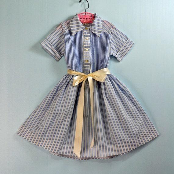 1950s / 50s GIRLS vintage SCHOOLGIRL dress - blue stripe cotton w/ full skirt  & unique back yoke Size 6 7 8
