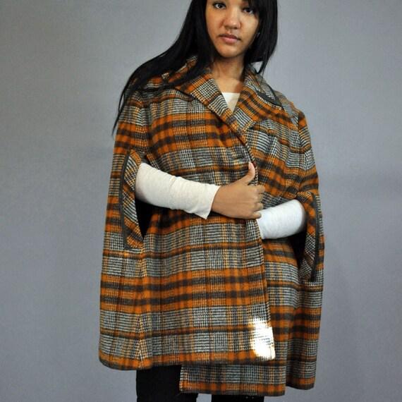 50s Vintage WOOL CAPE coat / Tartan Plaid wool swing cape w/ Leather Trims One Size