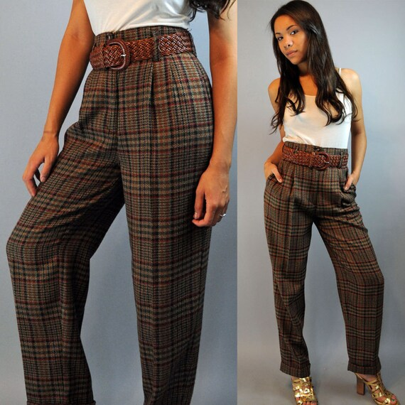 80s High Waisted Pants Plaid Pants Pleated Front W Taper