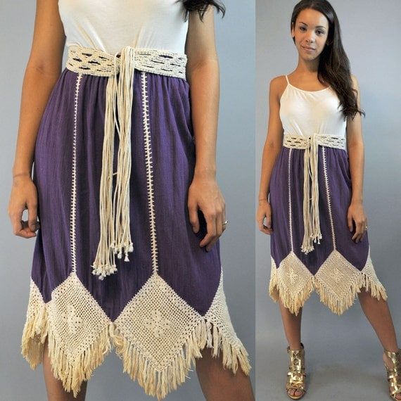 70s bohemian skirt / long ethnic hippie FESTIVAL SKIRT w/ Crocheted Fringe S/ M / L