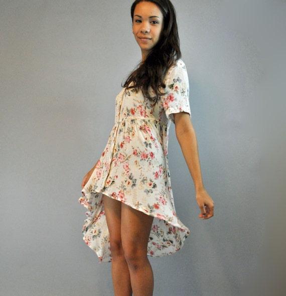 80s SHEER gypsy FISHTAIL dress / bohemian babydoll dress w/ high low hem s/m/l small / medium / large