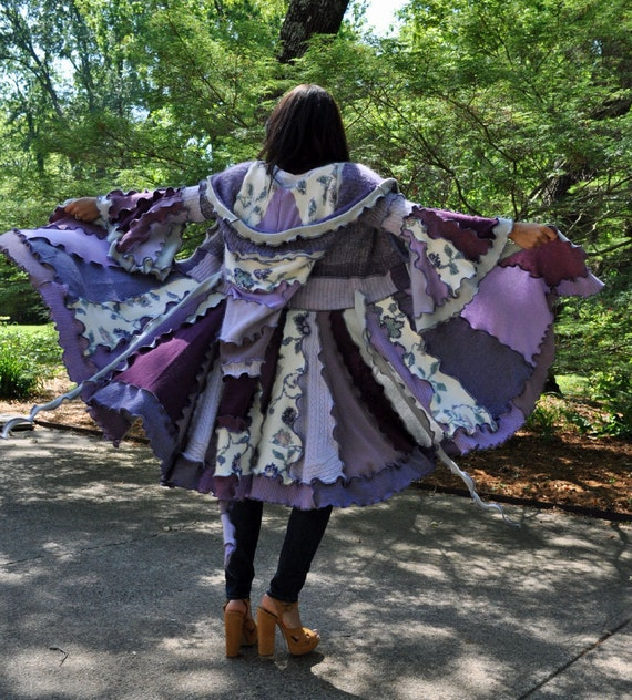 Gypsy Sweater Coat / custom upcycled sweater coat / RECONSTRUCTED Sweater COAT w/ Liripipe Hood & Bell Sleeves size XS / S