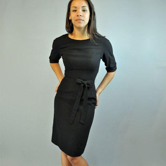 50s dress / HOWARD WOLF mad men wiggle dress / black wool Bombshell dress w/ 3/4 length dolman sleeves XS / S