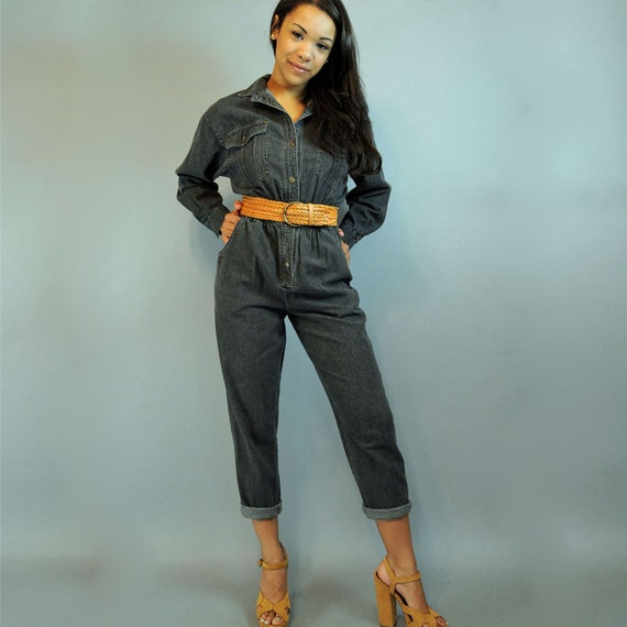 80s vintage jumpsuit Black Denim Jumpsuit / womens vintage