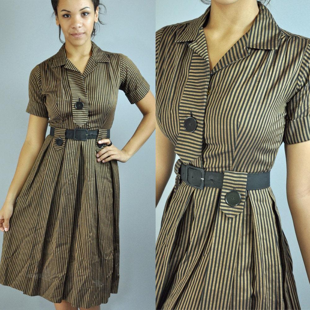 Vintage 50s Day Dress Stripe Shirtwaist Pleated Skirt Mad