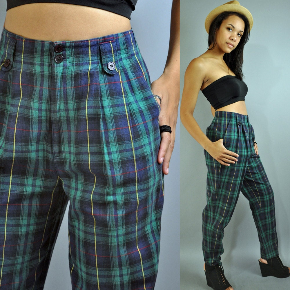80s HIGH WAISTED pants plaid pants taper leg HIPSTER trouser