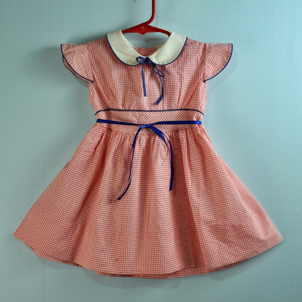 1940s 40s Little Girls Babydoll Dress W Butterfly Sleeves
