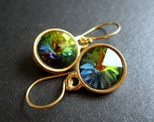 Swarovski Crystal Earrings, Crystal Earrings, Rainbow Jewels, Vermeil Gold Earrings - Rainbow Ice