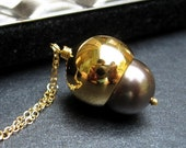 Acorn Necklace, Swarovski Crystal Glass Pearl, Gold Plated Acorn Cap, 14K Gold Filled Chain - Pearl Acorn