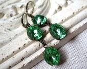 Peridot Jewel Stacked Earrings, Green Earrings, Vintage Peridot Green Glass Jewels, Lime Green, August Birthstone, Antique Brass Leverbacks