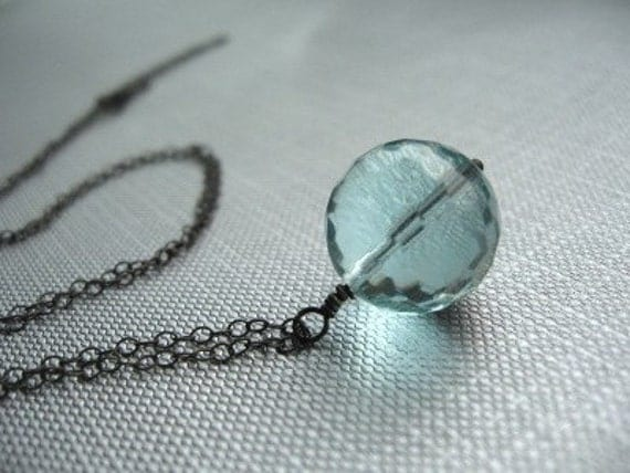 Handmade Necklace, Aquamarine Faceted Round, Oxidized Sterling Silver - Ball and Chain