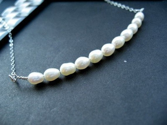 CYBER MONDAY - 15% OFF - Handmade Necklace, String of Freshwater Pearls, Sterling Silver Chain - Puff