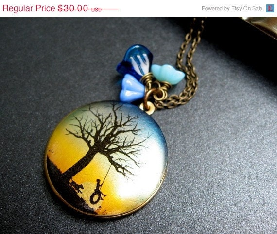 Sunset Locket Necklace, Silk Screened Locket, Antiqued Brass Chain - Country Roads