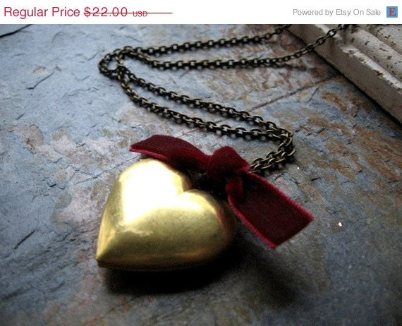 Heart Locket Necklace, Antiqued Locket, Long Antique Brass Chain - Be Mine